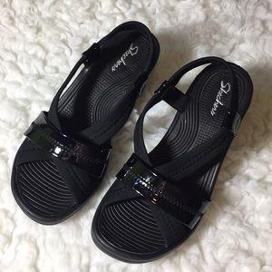 Sketchers black sandals size 9